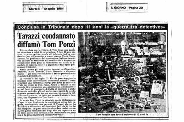 Il diffamatore di Tom Ponzi condannato!